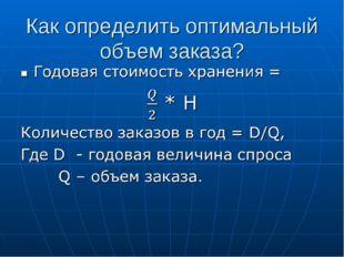 Как определить оптимальный объем заказа?