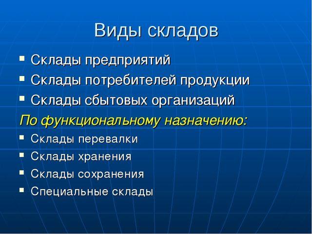 Виды складов Склады предприятий Склады потребителей продукции Склады сбытовых...