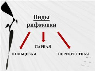 Виды рифмовки ПАРНАЯ КОЛЬЦЕВАЯ ПЕРЕКРЕСТНАЯ