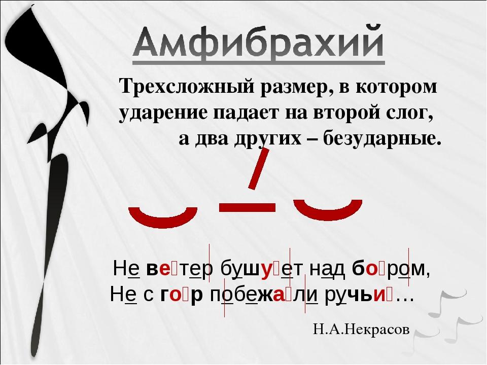 Трехсложный размер, в котором ударение падает на второй слог, а два других –...
