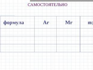 САМОСТОЯТЕЛЬНО  формула ArMrm; г 1 2 3
