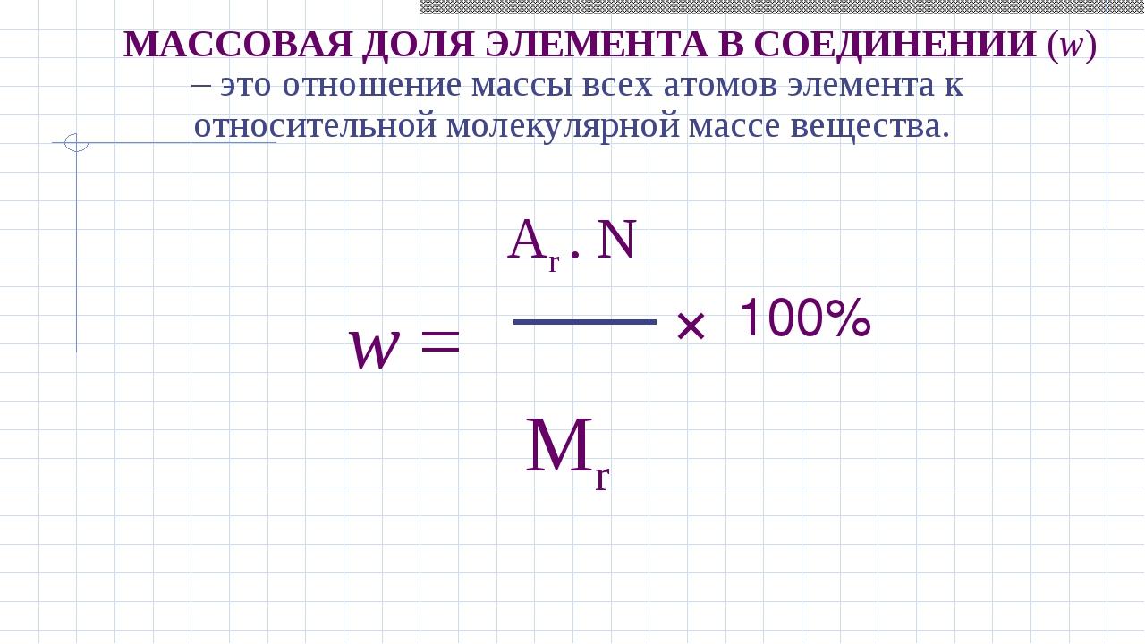 – это отношение массы всех атомов элемента к относительной молекулярной масс...