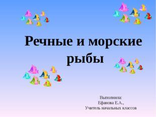 Речные и морские рыбы Выполнила: Ефанова Е.А., Учитель начальных классов