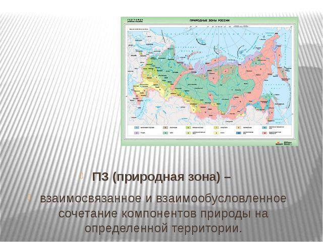 ПЗ (природная зона) – взаимосвязанное и взаимообусловленное сочетание компоне...