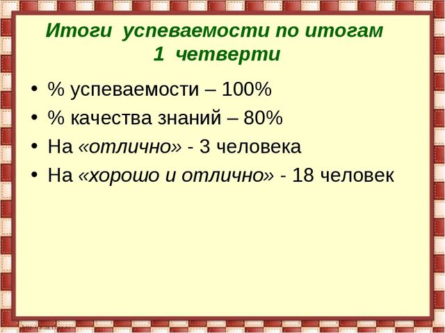 Итоги успеваемости по итогам 1 четверти % успеваемости – 100% % качества знан...