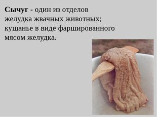 Сычуг - один из отделов желудка жвачных животных; кушанье в виде фаршированно