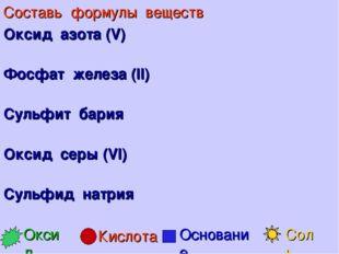 Составь формулы веществ Оксид азота (V) Фосфат железа (II) Сульфит бария Окси