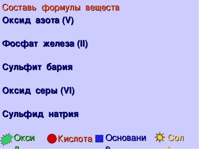 Составь формулы веществ Оксид азота (V) Фосфат железа (II) Сульфит бария Окси...