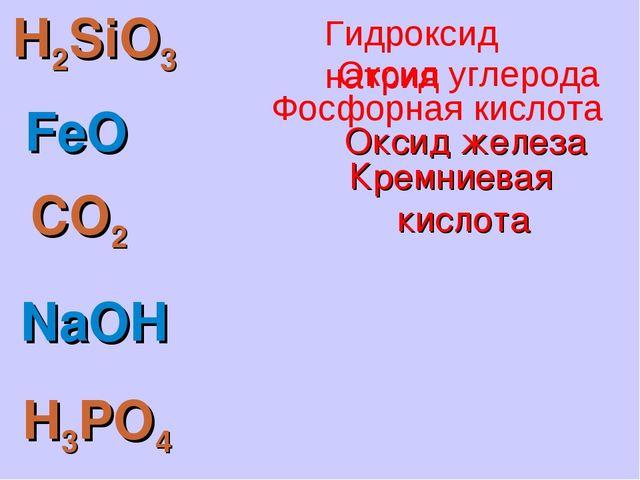 H2SiO3 FeO CO2 NaOH H3PO4 Кремниевая кислота Оксид железа Фосфорная кислота О...