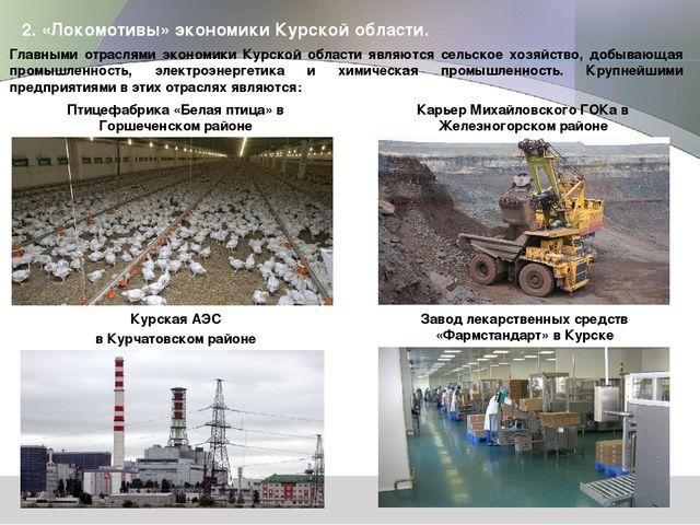 2. «Локомотивы» экономики Курской области. Главными отраслями экономики Курск...