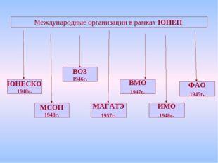 Международные организации в рамках ЮНЕП ЮНЕСКО 1948г. МСОП 1948г. ВОЗ 1946г.