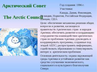 Арктический Совет The Arctic Council Год создания: 1996 г. Участники: К
