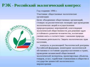 РЭК - Российский экологический конгресс Год создания: 1996 г. Участники: обще