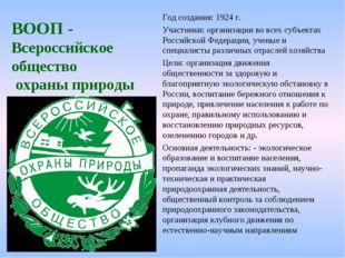 ВООП - Всероссийское общество охраны природы Год создания: 1924 г. Участники: