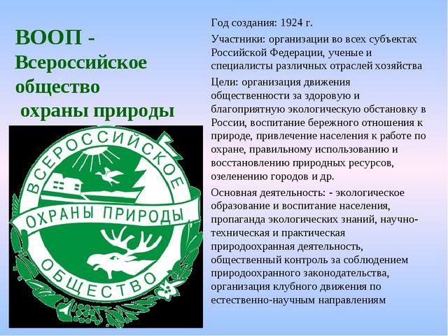 ВООП - Всероссийское общество охраны природы Год создания: 1924 г. Участники:...