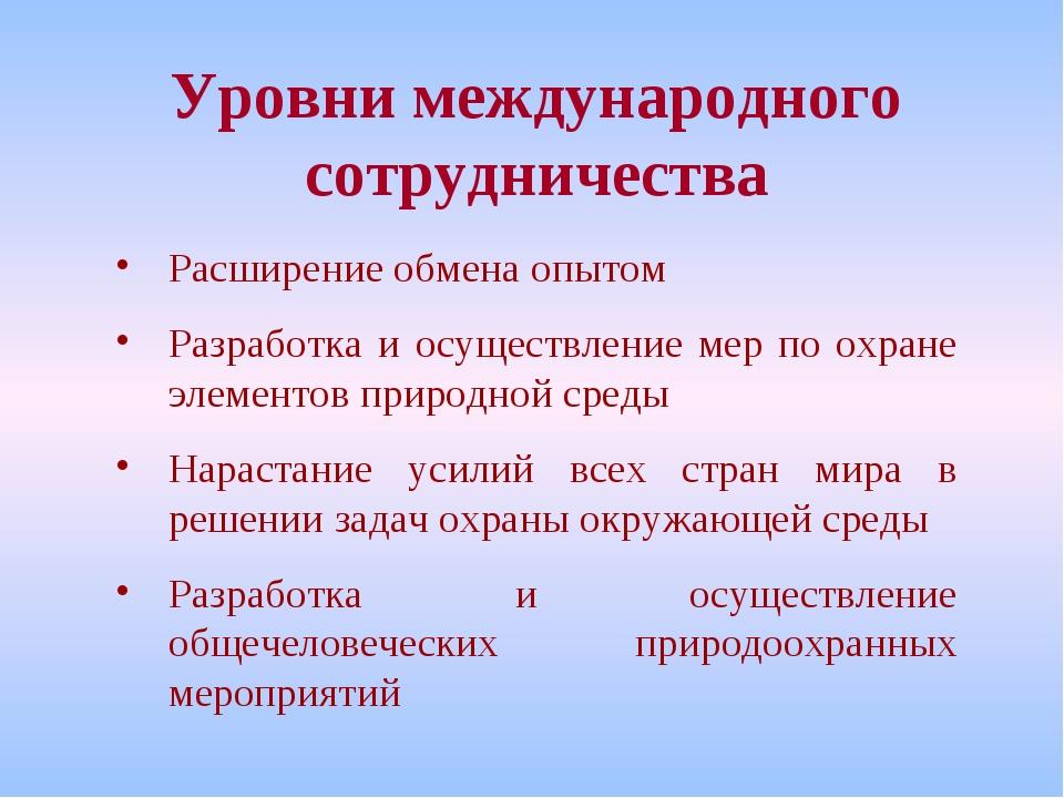 Уровни международного сотрудничества Расширение обмена опытом Разработка и ос...