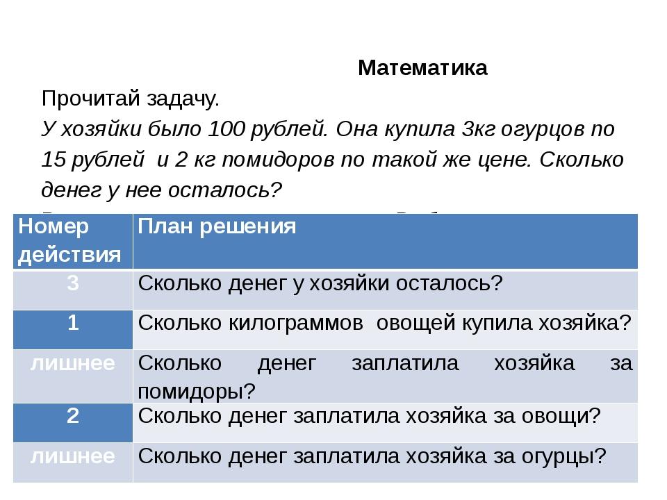 Математика Прочитай задачу. У хозяйки было 100 рублей. Она купила 3кг огурцо...