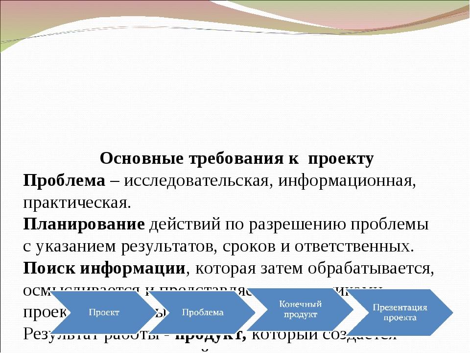 Основные требования к проекту Проблема – исследовательская, информационная,...
