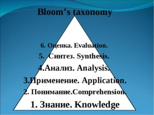Bloom's taxonomy 6. Оценка. Evaluation.  5. Синтез. Synthesis.  4.Анализ. Ana