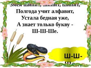 Змея шипит, шипит, шипит, Полгода учит алфавит, Устала бедная уже, А знает т