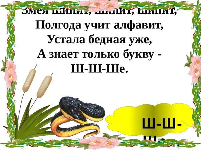 Змея шипит, шипит, шипит, Полгода учит алфавит, Устала бедная уже, А знает т...