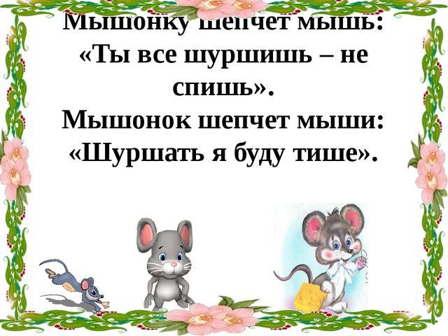 Мышонку шепчет мышь: «Ты все шуршишь – не спишь». Мышонок шепчет мыши: «Шурша...