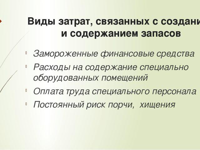 Виды затрат, связанных с созданием и содержанием запасов Замороженные финансо...