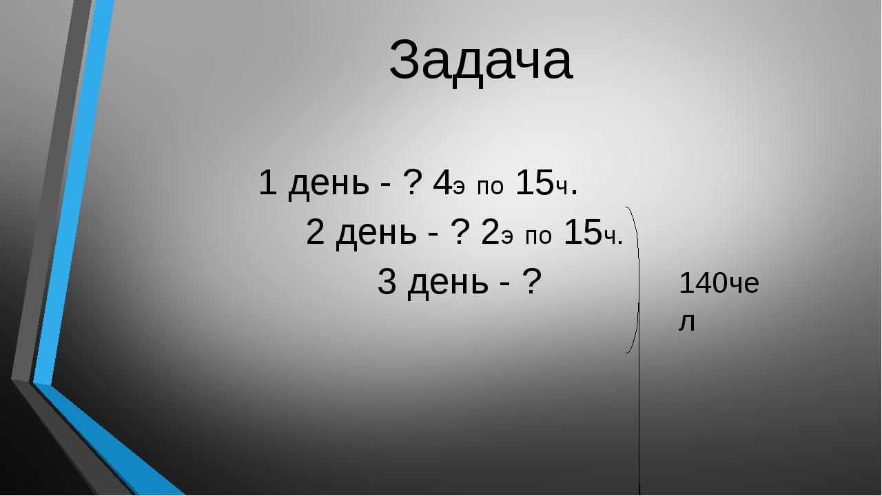 Задача 1 день - ? 4э по 15ч. 2 день - ? 2э по 15ч. 3 день - ? 140чел