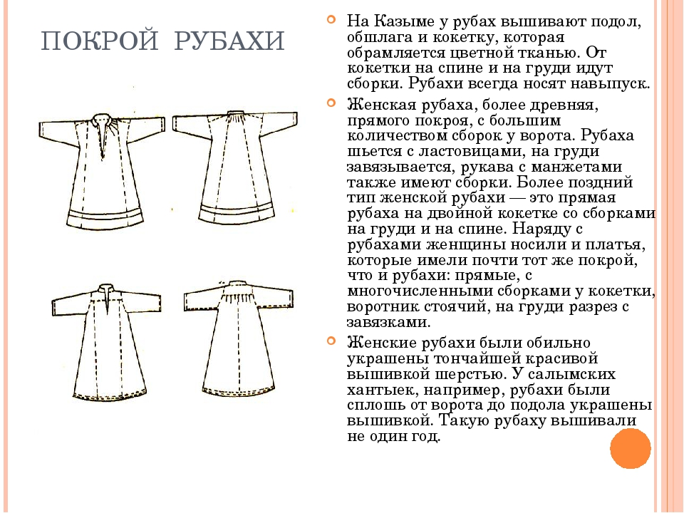 ПОКРОЙ РУБАХИ На Казыме у рубах вышивают подол, обшлага и кокетку, которая об...