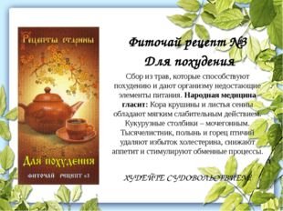 Фиточай рецепт №3 Для похудения Сбор из трав, которые способствуют похудению