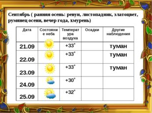 Сентябрь ( ранняя осень: ревун, листопадник, златоцвет, румянец осени, вечер