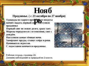 Ноябрь Предзимье. ( с 23 октября по 27 ноября) Однажды из сырого промозглого