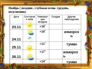 Ноябрь ( поздняя , глубокая осень: грудень, полузимник) Дата Состояние неба Т
