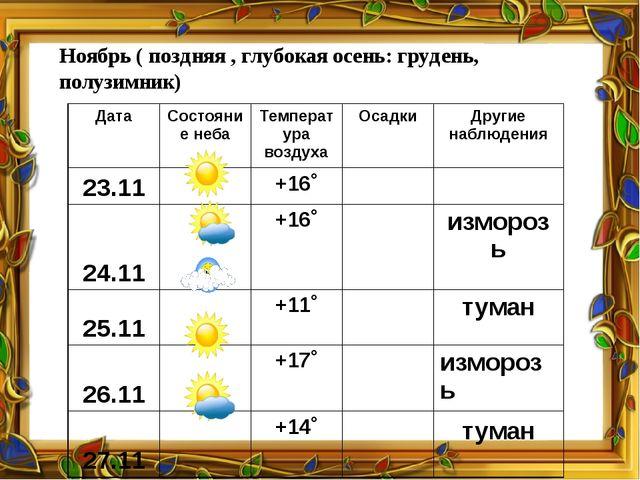 Ноябрь ( поздняя , глубокая осень: грудень, полузимник) Дата Состояние неба Т...