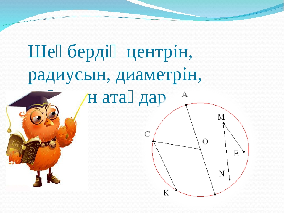 Шеңбердің центрін, радиусын, диаметрін, доғасын атаңдар.
