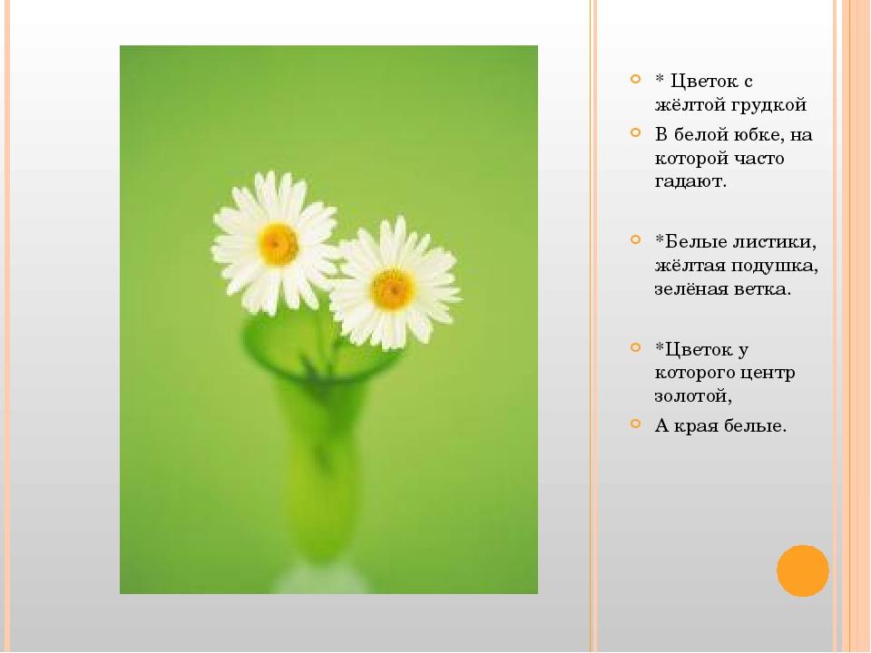 * Цветок с жёлтой грудкой В белой юбке, на которой часто гадают. *Белые лист...