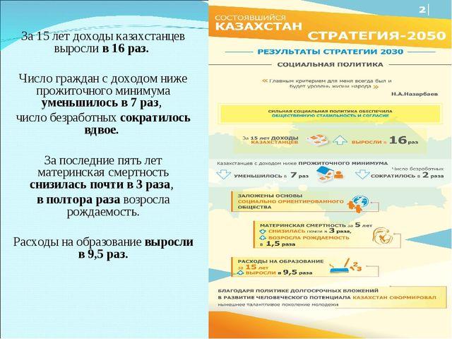 За 15 лет доходы казахстанцев выросли в 16 раз. Число граждан с доходом ниже...