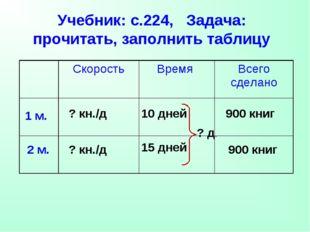 Учебник: с.224, Задача: прочитать, заполнить таблицу 1 м. 2 м. 10 дней 15 дне
