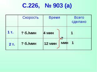 С.226, № 903 (а) 1 т. 2 т. 4 мин 12 мин 1 1 ? б./мин ? б./мин ? мин Скорость
