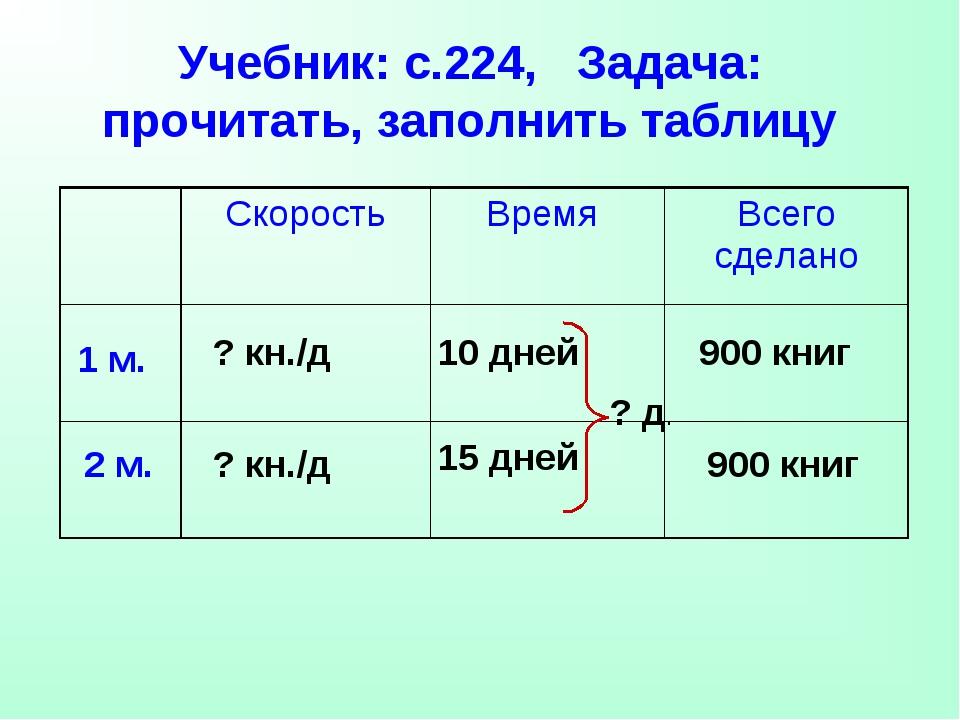 Учебник: с.224, Задача: прочитать, заполнить таблицу 1 м. 2 м. 10 дней 15 дне...