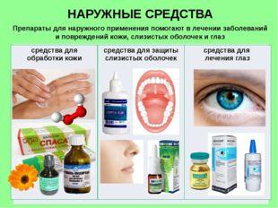 НАРУЖНЫЕ СРЕДСТВА Препараты для наружного применения помогают в лечении забол