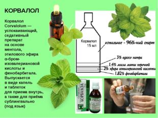 КОРВАЛОЛ Корвалол Corvalolum— успокаивающий, седативный препарат на основе м