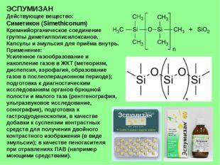 ЭСПУМИЗАН Действующее вещество: Симетикон (Simethiconum) Кремнийорганическое
