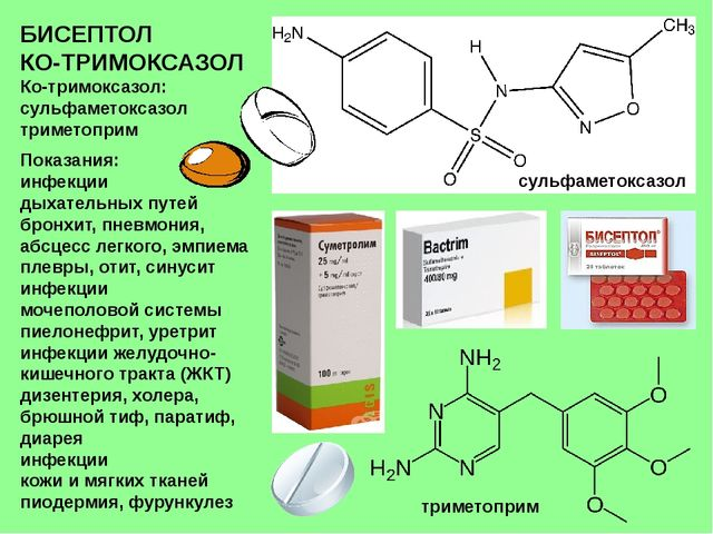 БИСЕПТОЛ КО-ТРИМОКСАЗОЛ Ко-тримоксазол: сульфаметоксазол триметоприм Показани...