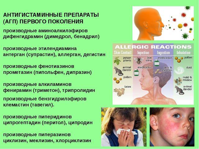 АНТИГИСТАМИННЫЕ ПРЕПАРАТЫ (АГП) ПЕРВОГО ПОКОЛЕНИЯ производные аминоалкилэфиро...