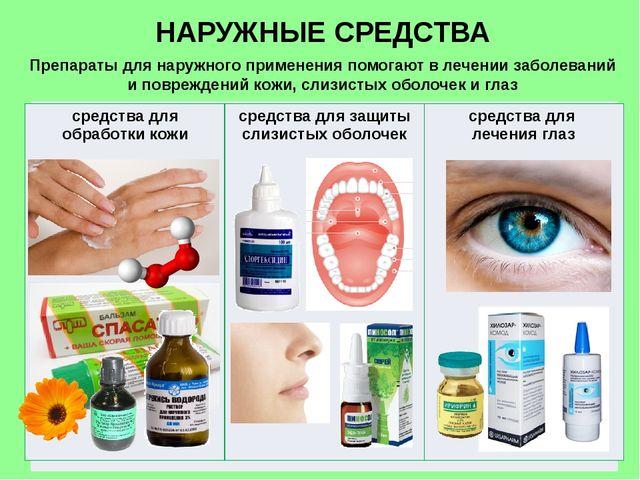 НАРУЖНЫЕ СРЕДСТВА Препараты для наружного применения помогают в лечении забол...