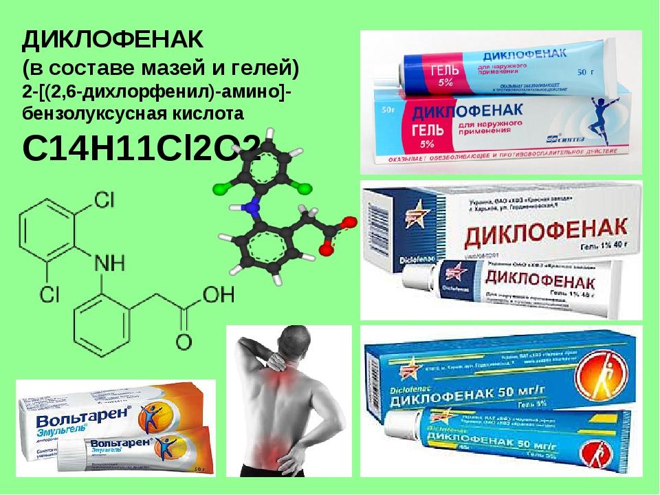 ДИКЛОФЕНАК (в составе мазей и гелей) 2-[(2,6-дихлорфенил)-амино]- бензолуксус...