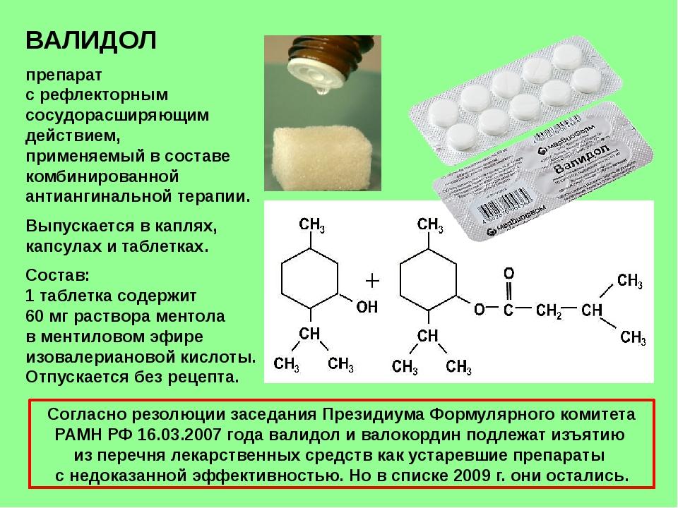 ВАЛИДОЛ препарат с рефлекторным сосудорасширяющим действием, применяемый в со...