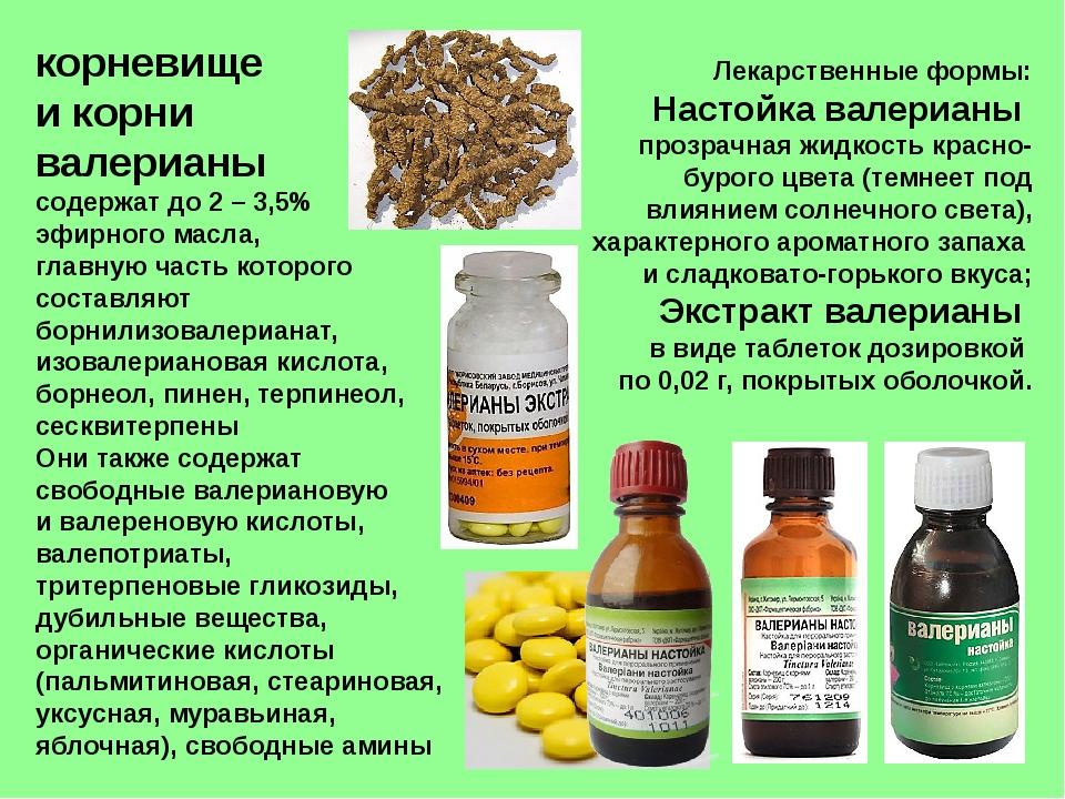 корневище и корни валерианы содержат до 2 – 3,5% эфирного масла, главную част...
