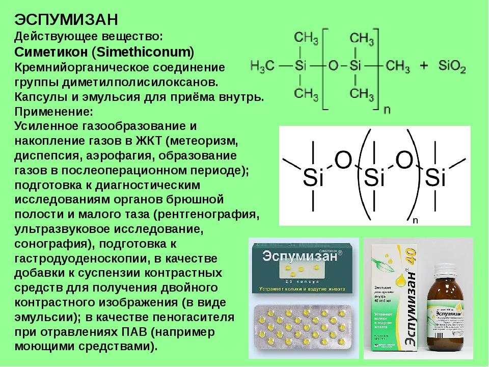 ЭСПУМИЗАН Действующее вещество: Симетикон (Simethiconum) Кремнийорганическое...